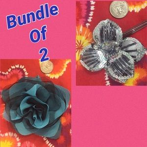 🔸Donated Bundle of 2 hair flowers sequin fabric